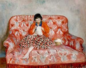 Henri Lebasque - Jeune fille brodant sur un sofa