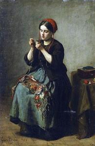 Peasant women threading a needle (1861) - Jules Breton