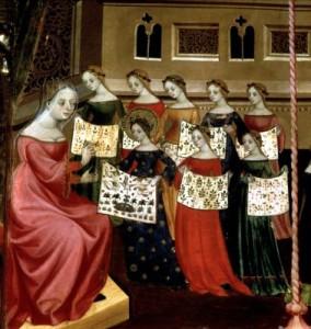 Virgin Mary with her needlework classmates - Lluis Borrassa