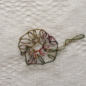 festonroos op kantachtig plastic materiaal