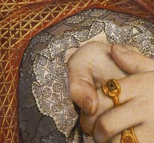 Manchet in Holbeinborduurwerk.